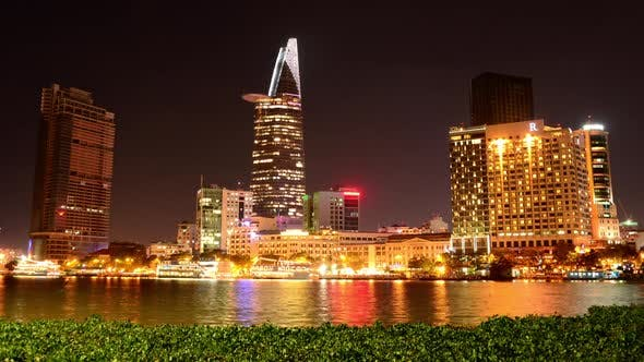 Thumbnail for Scenic Ho Chi Minh City (Saigon) Skyline At Night - Vietnam 17