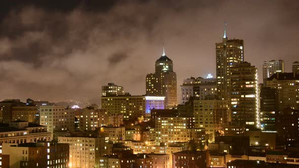 Thumbnail for Fog Passing Over San Francisco Skyline At Night 2