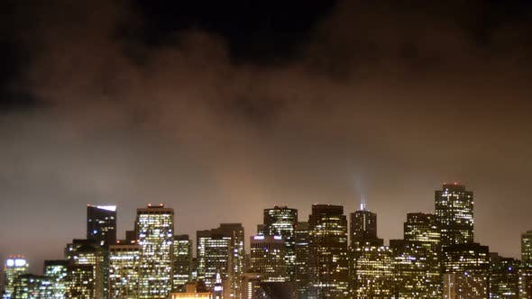 Thumbnail for Fog Passing Over San Francisco Skyline At Night 5