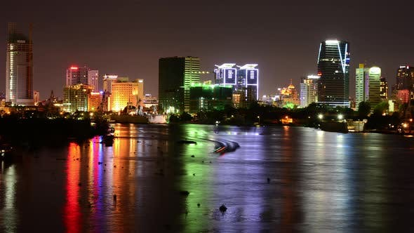 Cover Image for Scenic Ho Chi Minh City (Saigon) Skyline At Night - Vietnam 2