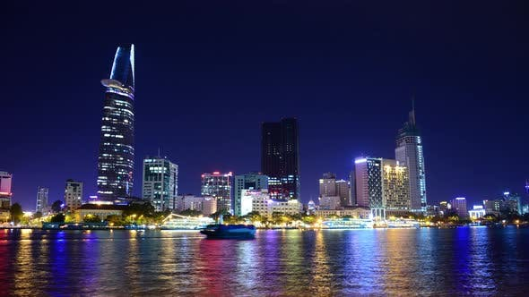 Cover Image for Scenic Ho Chi Minh City (Saigon) Skyline At Night - Vietnam 24