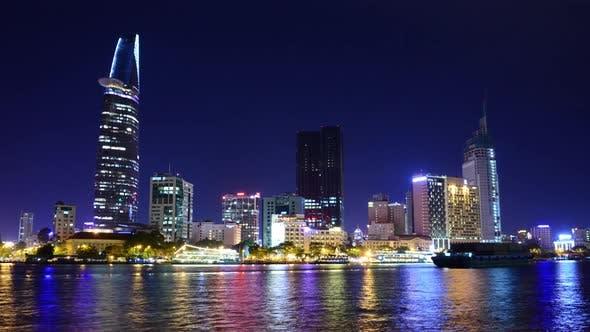 Thumbnail for Scenic Ho Chi Minh City (Saigon) Skyline At Night - Vietnam 25
