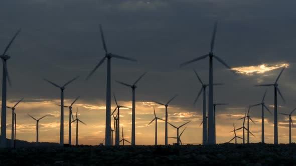 Thumbnail for Power Windmills In The California Desert At Sunset 3