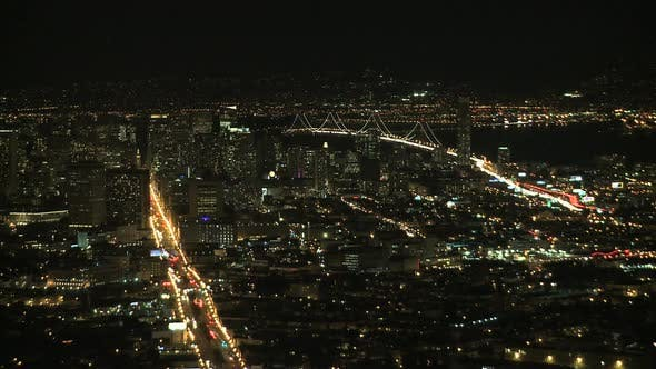 Thumbnail for Night View Of San Francisco Bay From Twin Peaks - Clip 2