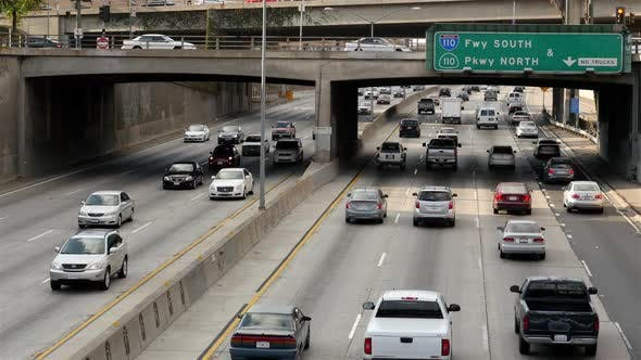 Traffic On Busy Freeway In Downtown Los Angeles California 31