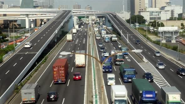 Thumbnail for Heavy Truck Traffic On Japanese Highway -   Tokyo Japan 1