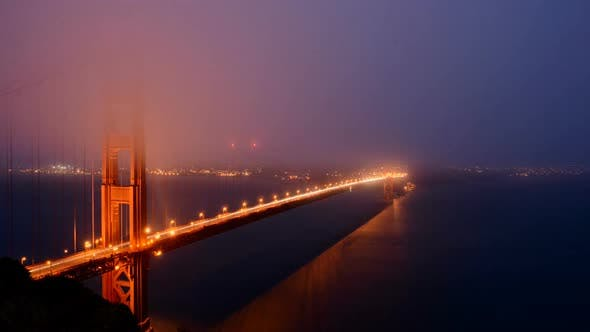 Thumbnail for Golden Gate Bridge Covered In Evening Fog - 2