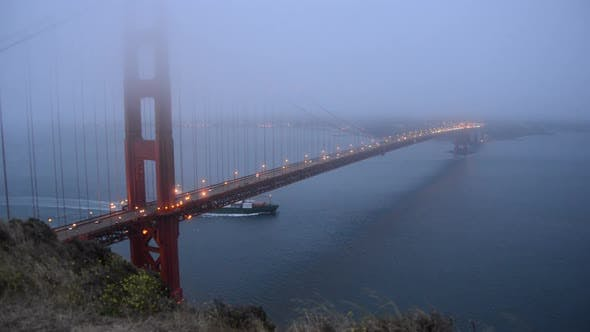 Thumbnail for Golden Gate Bridge Covered In Evening Fog 1