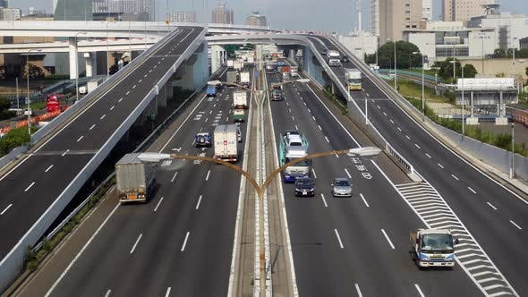Cover Image for Heavy Truck Traffic On Japanese Highway -   Tokyo Japan 5