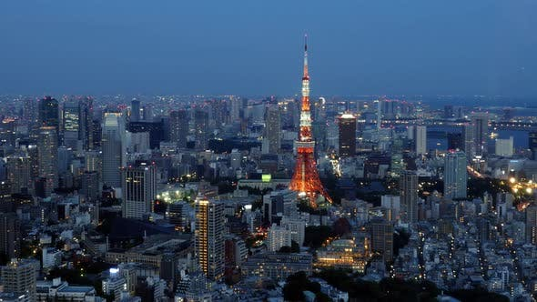 Thumbnail for Skyline With Tokyo Tower At Night - Tokyo Japan 1