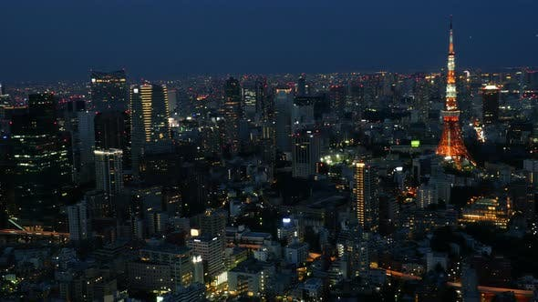 Thumbnail for Skyline With Tokyo Tower At Night - Tokyo Japan 3
