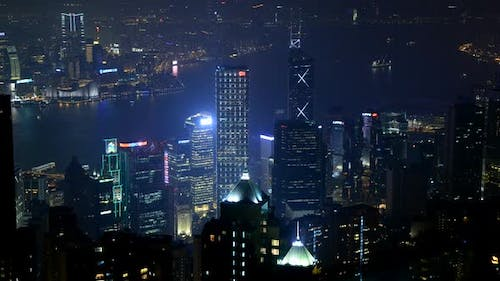 Hong Kong City And Victoria Harbour At Night From Victoria Peak 1