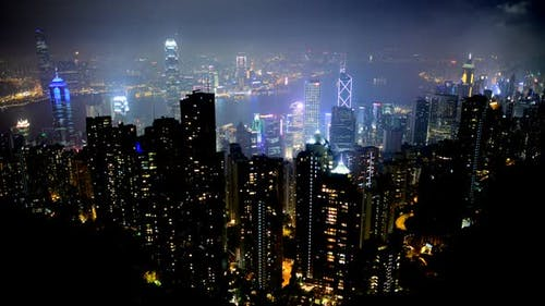 Hong Kong City And Victoria Harbour At Night From Victoria Peak 2
