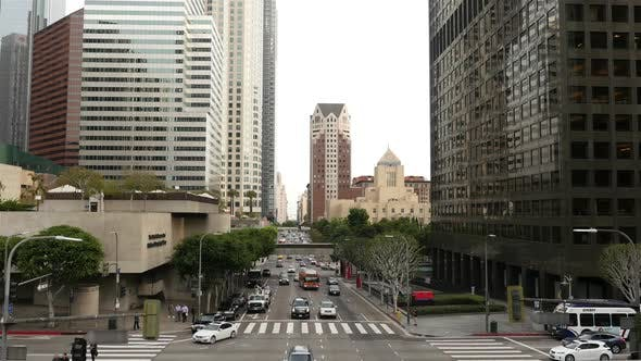 Thumbnail for View Of Traffic / Pedestrians In Downtown Los Angeles California 1