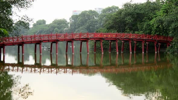 Cover Image for The Huc Bridge On Hoan Kiem Lake - Hanoi Vietnam 1