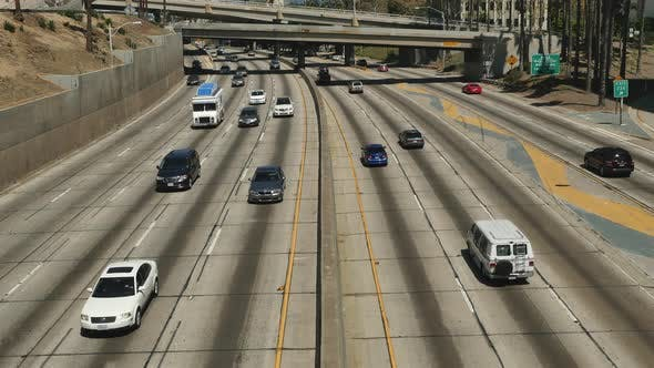 Thumbnail for Overhead View Of Traffic On Busy 10 Freeway In Downtown Los Angeles California 8