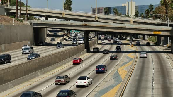 Cover Image for Overhead View Of Traffic On Busy 10 Freeway In Downtown Los Angeles California 9