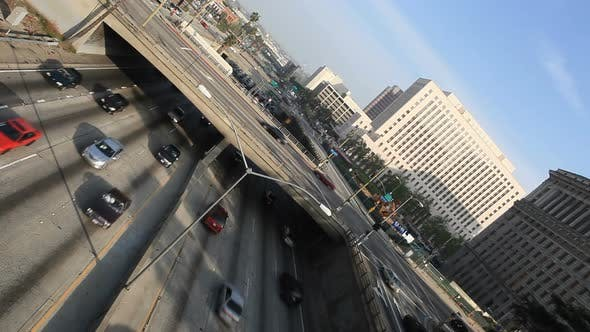 Thumbnail for Heavy Traffic On Overpass On The 101 Freeway In Downtown Los Angeles