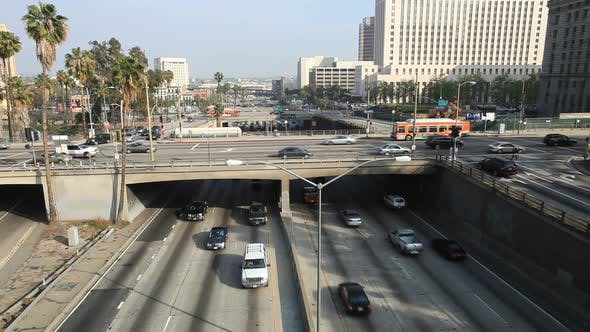 Cover Image for Heavy Traffic On Overpass On The 101 Freeway In Downtown Los Angeles 2