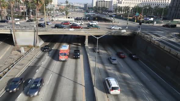 Thumbnail for Heavy Traffic On Overpass On The 101 Freeway In Downtown Los Angeles 3
