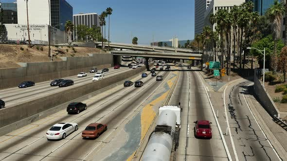 Thumbnail for Overhead View Of Traffic On Busy 10 Freeway In Los Angeles California