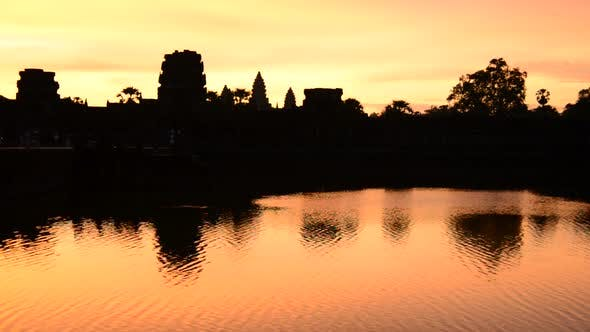 Thumbnail for Silhouette Main Temple Buildings Lake Reflection At Sunrise - Angkor Wat