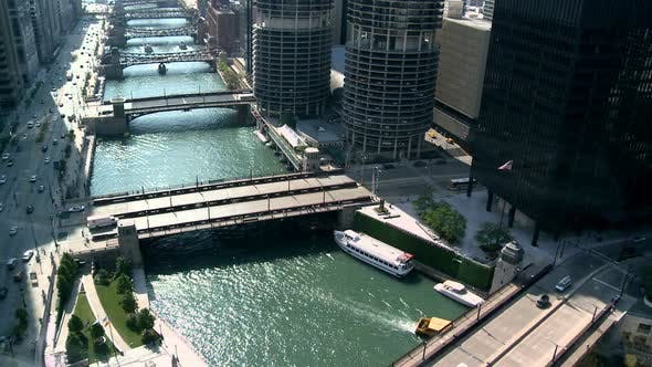 Thumbnail for Chicago River / Downtown From Above