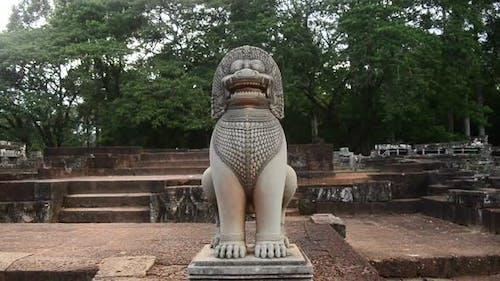Restored Guardian Lion Statue - Angkor Wat, Cambodia 1