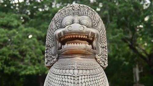 Restored Guardian Lion Statue - Angkor Wat, Cambodia 2
