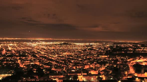 Thumbnail for City Of San Francisco At Night From Twin Peaks - Clip 1