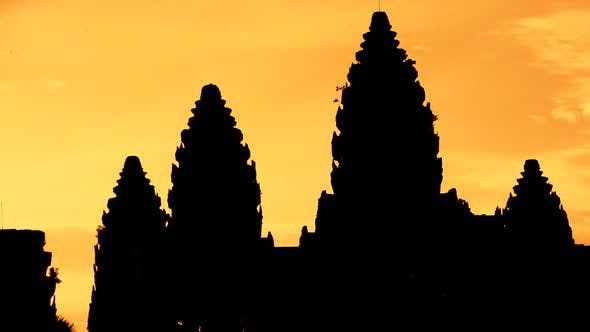 Thumbnail for Zoom Out Of Silhouettes Of Main Temple Spires At Sunrise - Angkor Wat, Cambodia 1