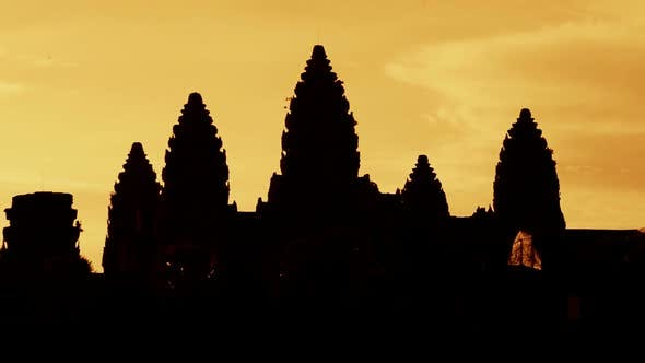 Thumbnail for Zoom Out Of Silhouettes Of Main Temple Spires At Sunrise - Angkor Wat, Cambodia 2