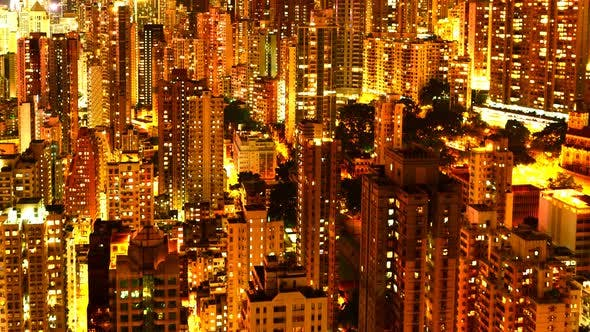 Thumbnail for Time Lapse Pan Of Hong Kong Skyline And Victoria Harbour At Night - Hong Kong China 1