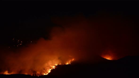 Thumbnail for Time Lapse Of Large Forest Fire At Night - 4k 8