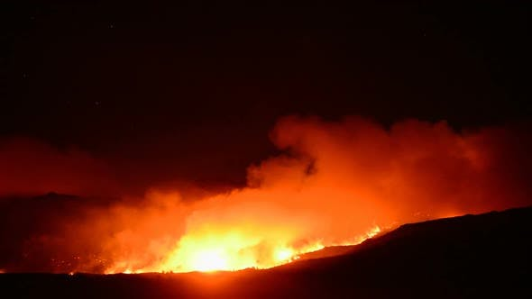 Thumbnail for Time Lapse Of Large Forest Fire At Night 11