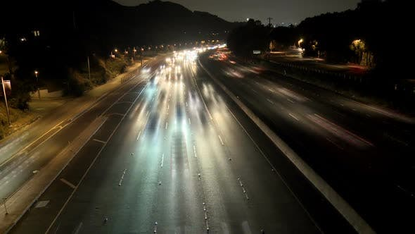 Thumbnail for Time Lapse Of Busy Highway At Night, Los Angeles 10