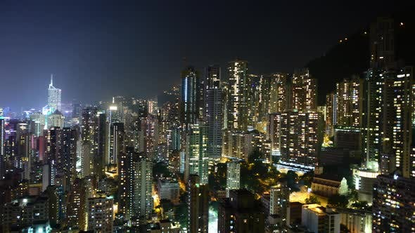 Thumbnail for Time Lapse Pan Of Hong Kong Skyline At Night - Hong Kong China 3
