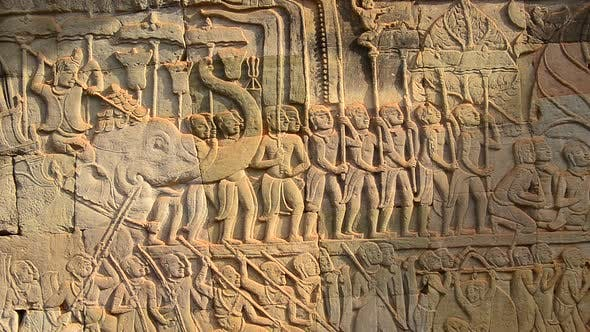 Thumbnail for Stone Carving Of Religious Icons On Temple Wall - Angkor Wat, Cambodia 1