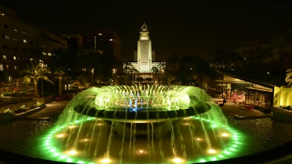 Thumbnail for Los Angeles City Hall And Fountain Nighttime 2