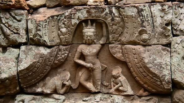 Thumbnail for Stone Carving Of Religious Icons On Temple Wall - Angkor Wat, Cambodia 2