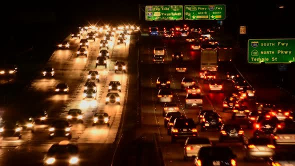 Thumbnail for Busy Los Angeles Freeway Traffic At Night 1