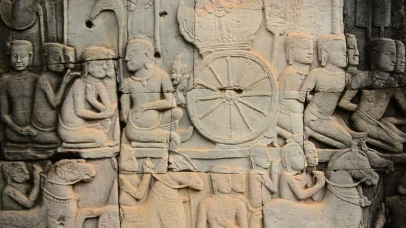 Stone Carving Of Religious Icons On Temple Wall - Angkor Wat, Cambodia 6