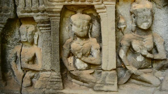 Thumbnail for Stone Carving Of Religious Icons On Temple Wall - Angkor Wat, Cambodia 9