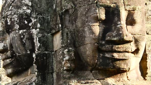 Thumbnail for Stone Carving Of Two Headed Buddha Goddess On Temple Wall - Angkor Wat, Cambodia 4