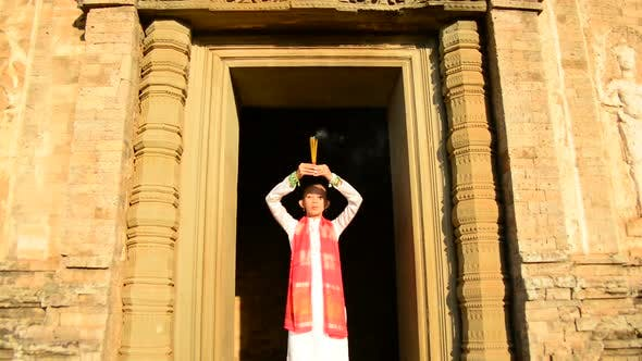 Thumbnail for Female Buddhist Praying With Incense In Temple Doorway -   Angkor Wat Temple Cambodia 4