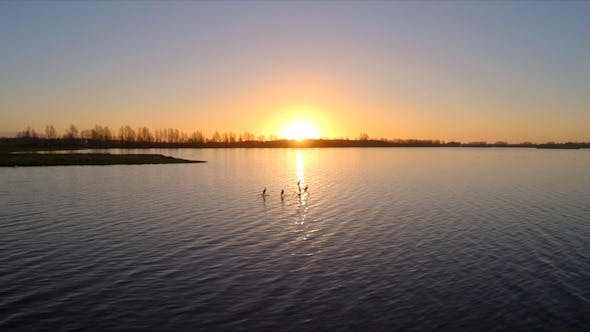 Thumbnail for Flying Towards the Sunset Over a Lake