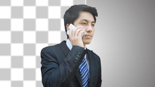Asian Business Man Phone Call