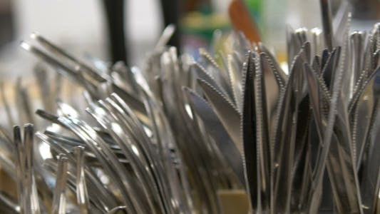 Forks, Knives and Spoons In The Kitchen