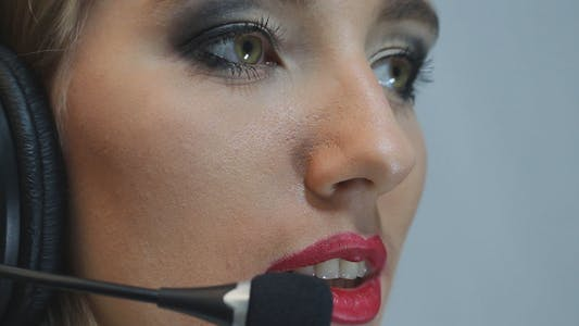 Lovely Call Center Operator Answers the Call