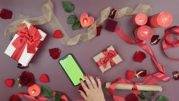 Online-Shopping im Internet, Suche nach Geschenken und Geschenken für den Heiligen, Valentinstag, Liebeskonzept